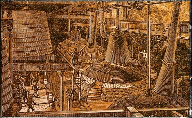 19th century engraving of a still house in a whiskey distillery