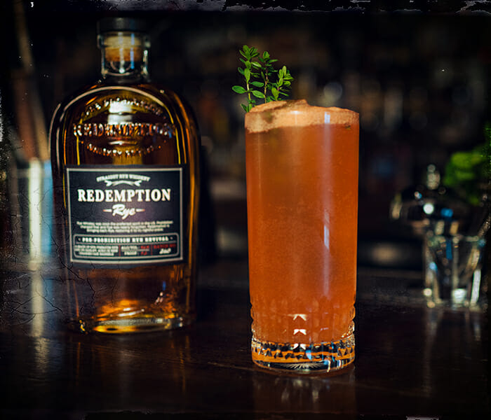 ryem thyme cocktail being served