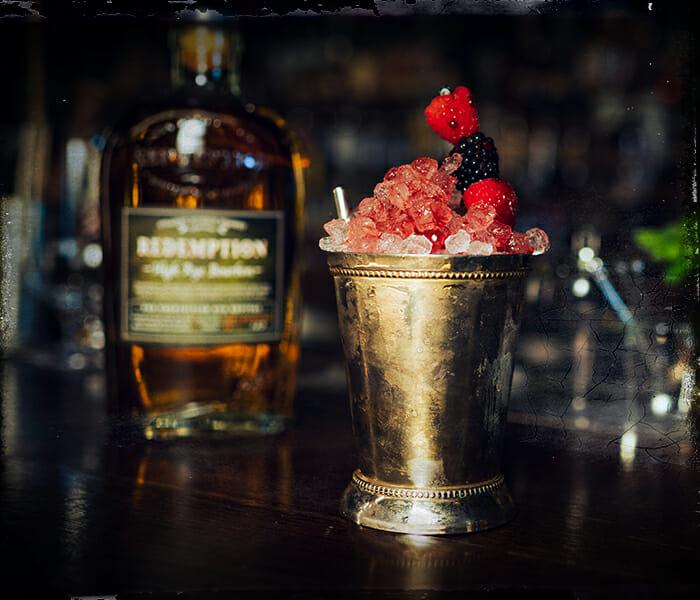 rye cobbler cocktail being served