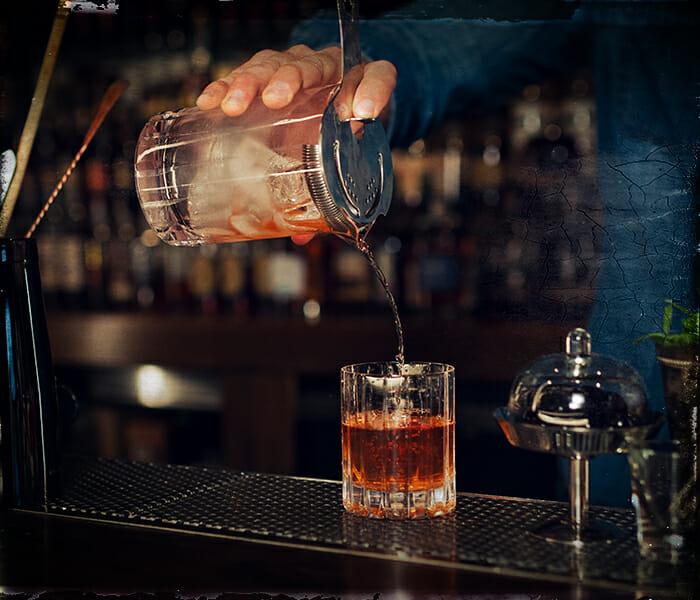 sazerac cocktail being served