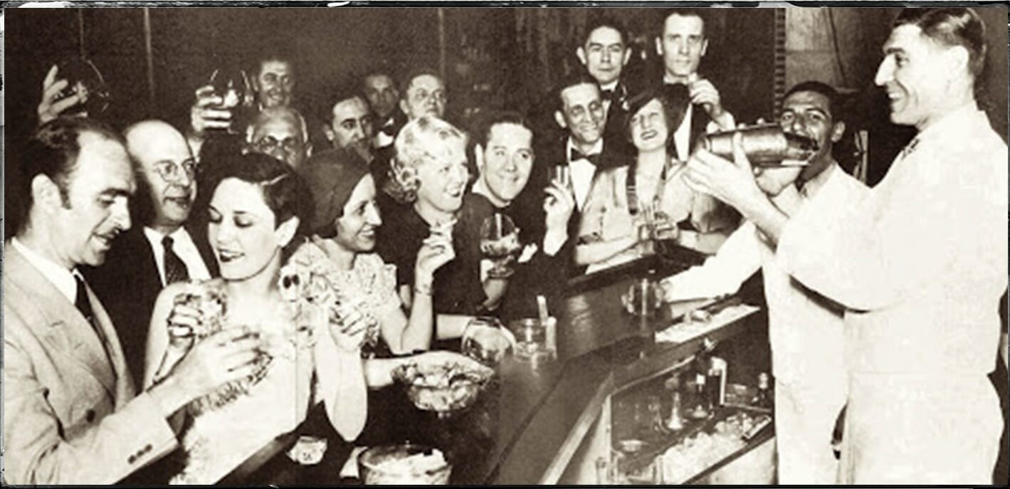 old vintage image of young people at bar